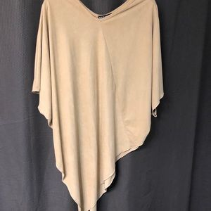XL Tan asymmetrical poncho top (faux suede)